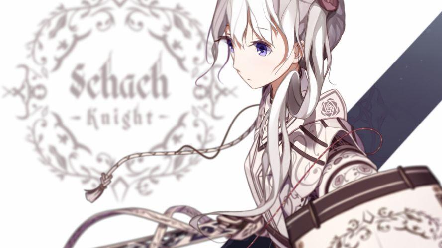 original armor atha blue eyes original sword weapon white hair wallpaper