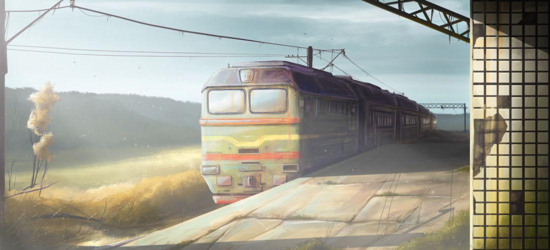 original art station train morning trains wallpaper