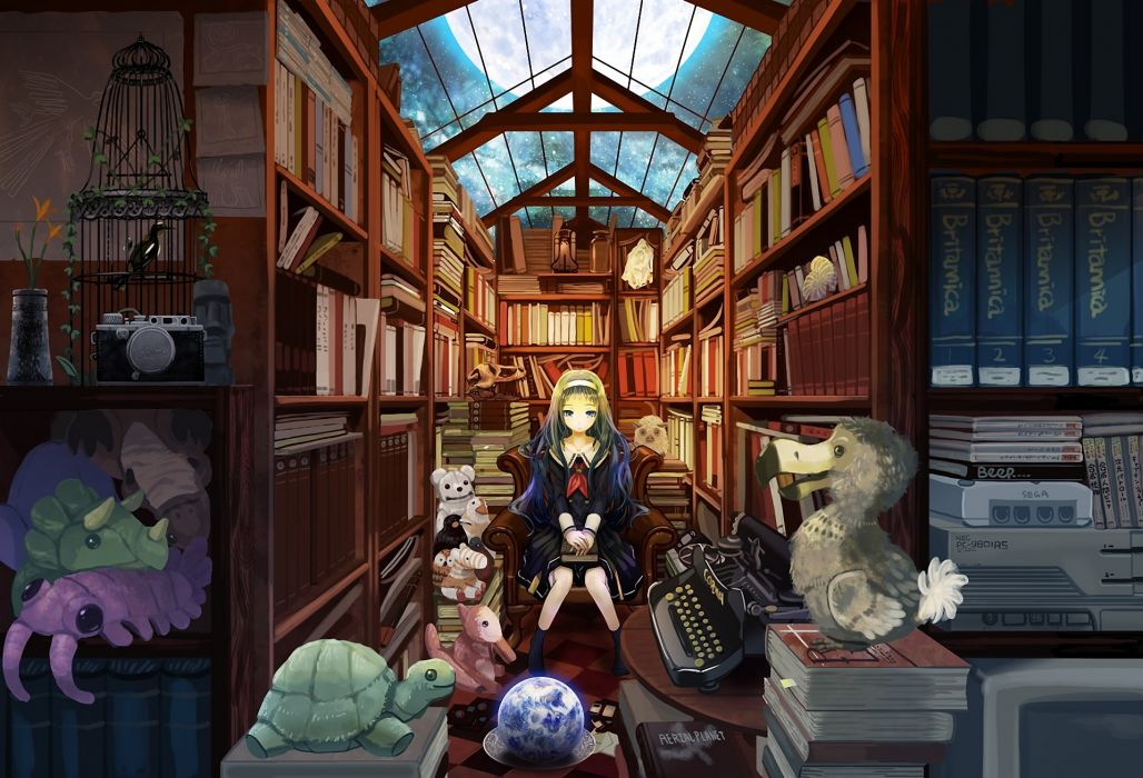 original Art kanipanda girl toys books library night moon cage wallpaper