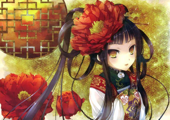 original black hair chinese dress flowers katagiri hinata original scan yellow eyes wallpaper