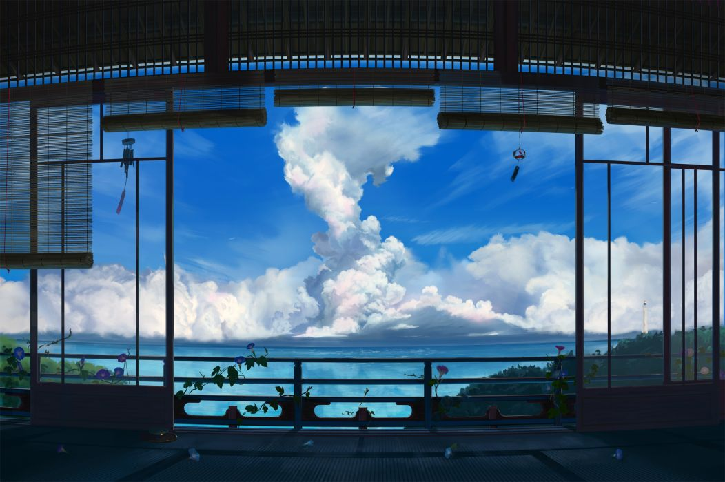 original clouds flowers landscape original scenic sky summer water wallpaper