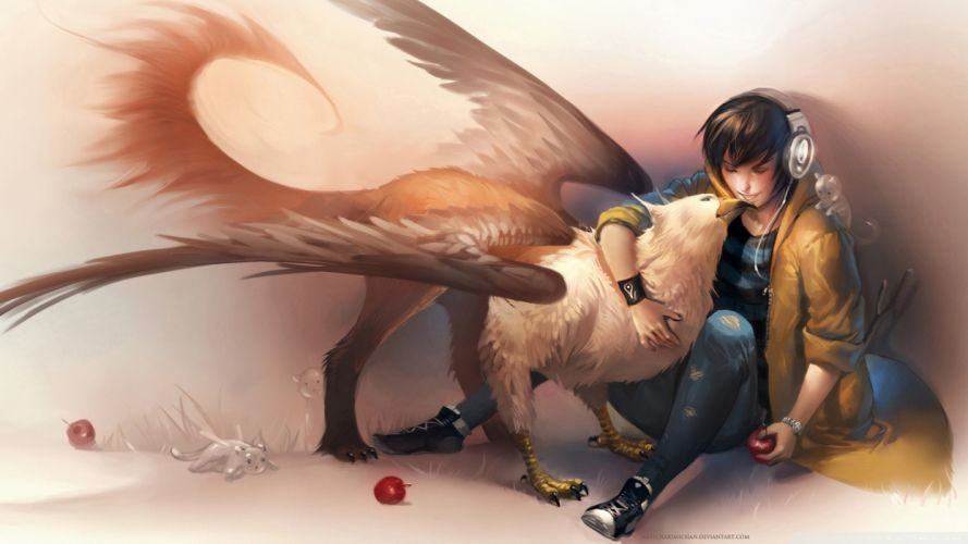 original headphones fantasy art anime boys griffin affection apples Abstract Fantasy wallpaper