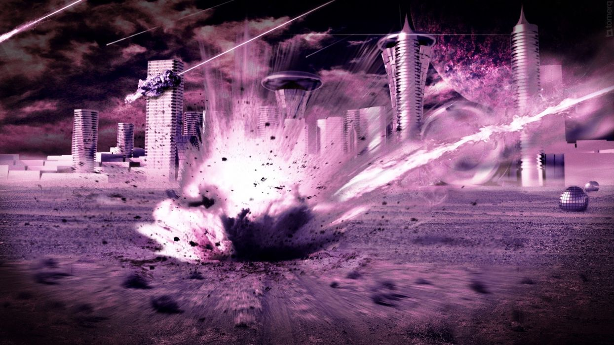 outer space futuristic explosions purple impact meteorite cities meteor apocalyptic explosion wallpaper
