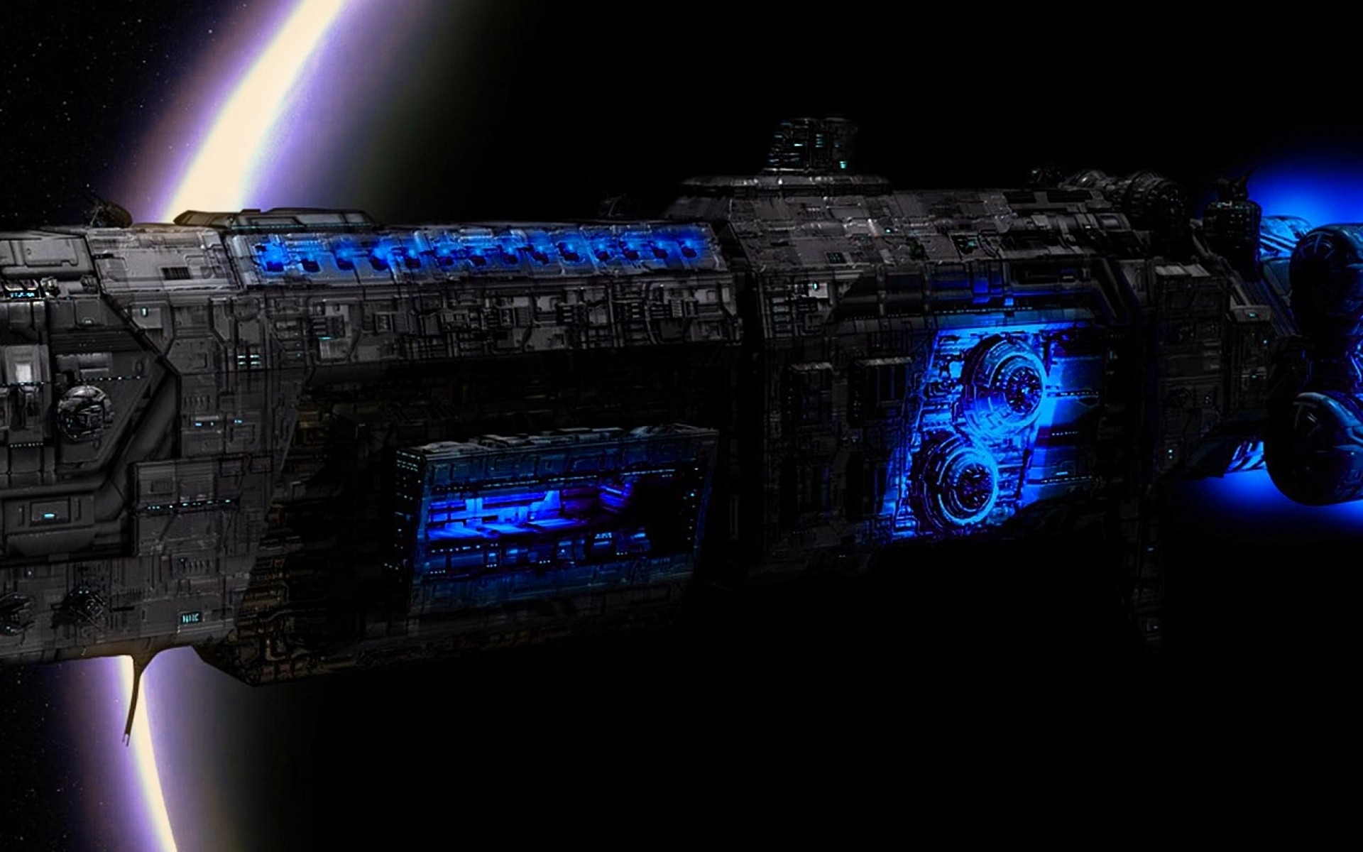 Outer Space Futuristic Spaceship Wallpaper