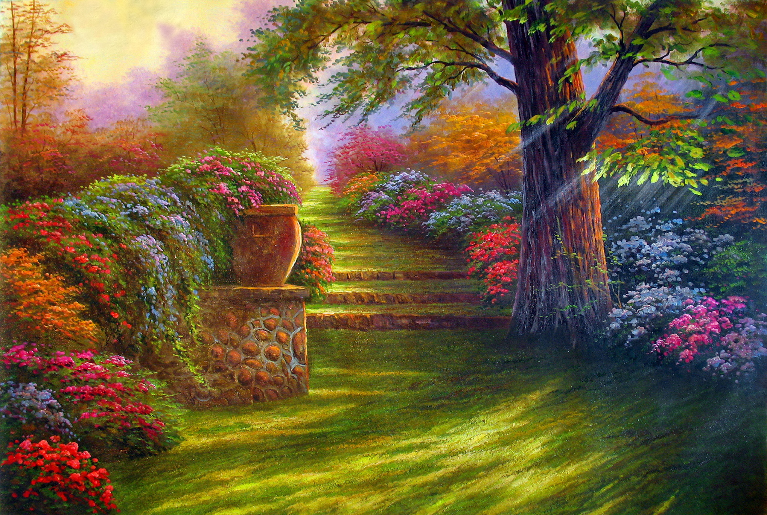 Painting garden road flowers wallpaper 2564x1722 for Garden painting images