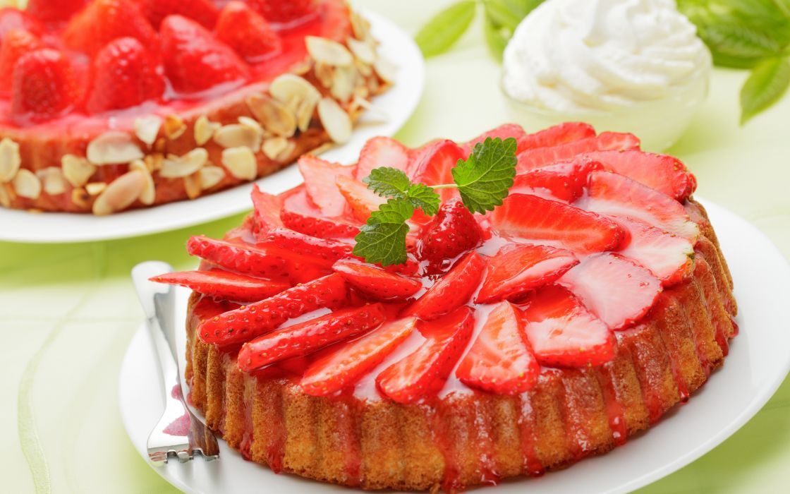 pastries strawberries cake berries wallpaper