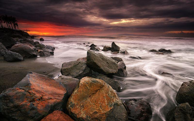 Rocks Stones Ocean Beach Sunset wallpaper