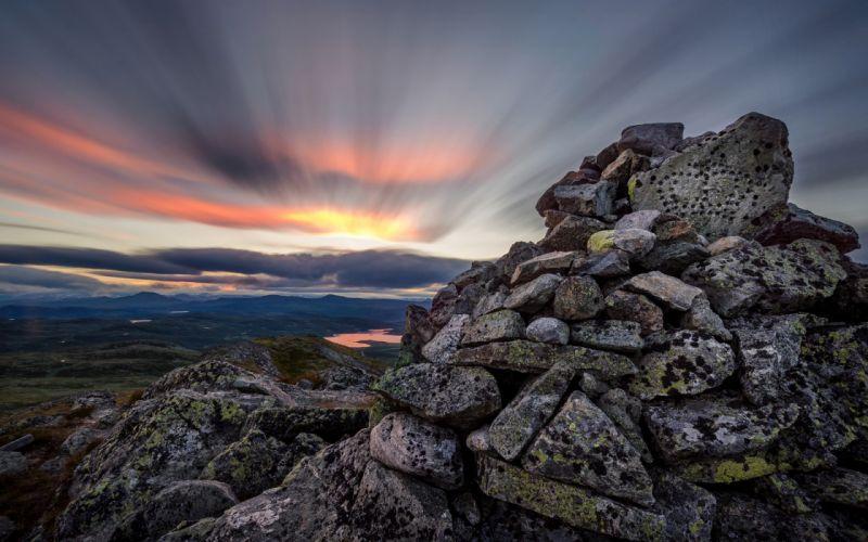 Rocks Stones Sunset Clouds wallpaper