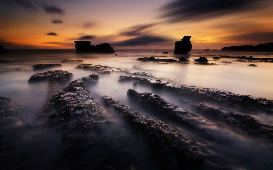 Rocks Stones Ocean Sunset wallpaper