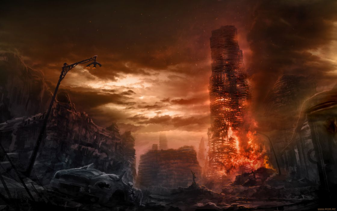Romantically Apocalyptic Drawing Apocalypse Fire dark wallpaper
