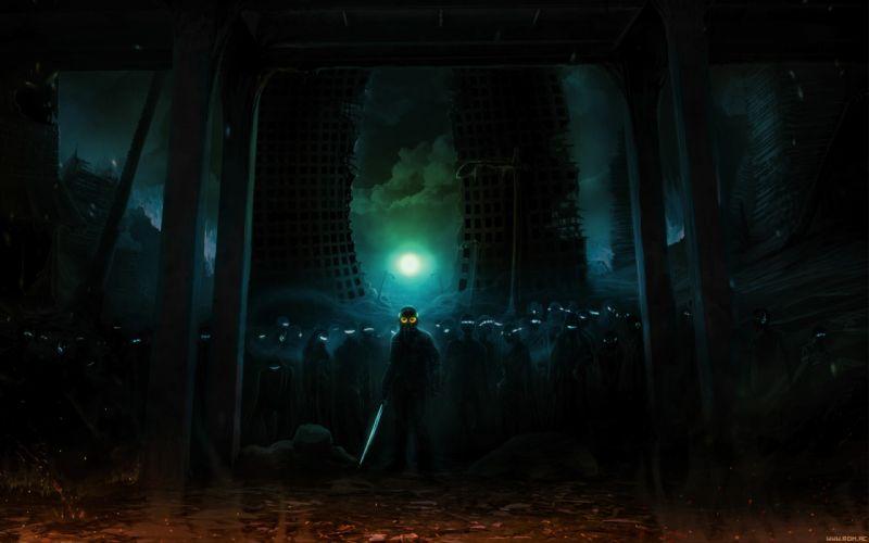 Romantically Apocalyptic Night Moonlight Buildings dark anarchy wallpaper