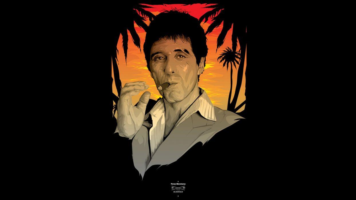 Scarface Al Pacino Tony Montana Black Cigar Smoking