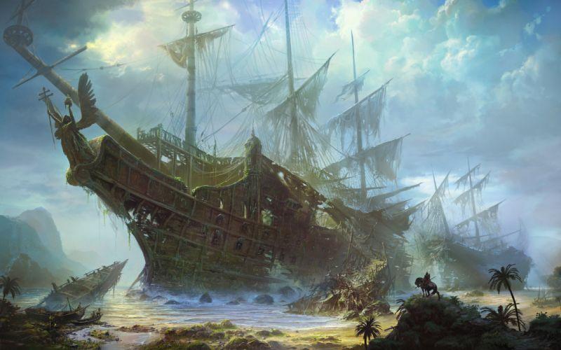 Schooner Ship Sail Ship Beached Abandon Deserted Beach wallpaper