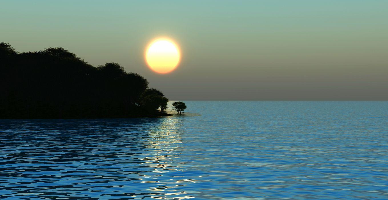 sea shore trees sun morning sunrise gg wallpaper