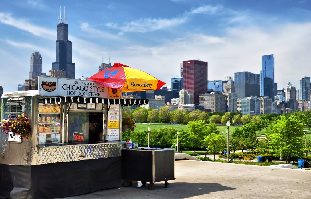 skyscrapers city usa chicago park bistro wallpaper
