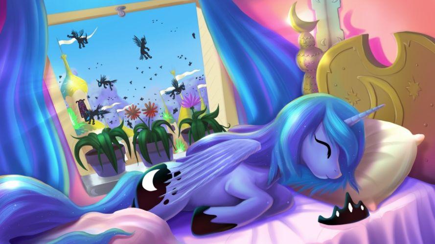 sleeping ponies princess luna changeling my little pony friendship is magic wallpaper