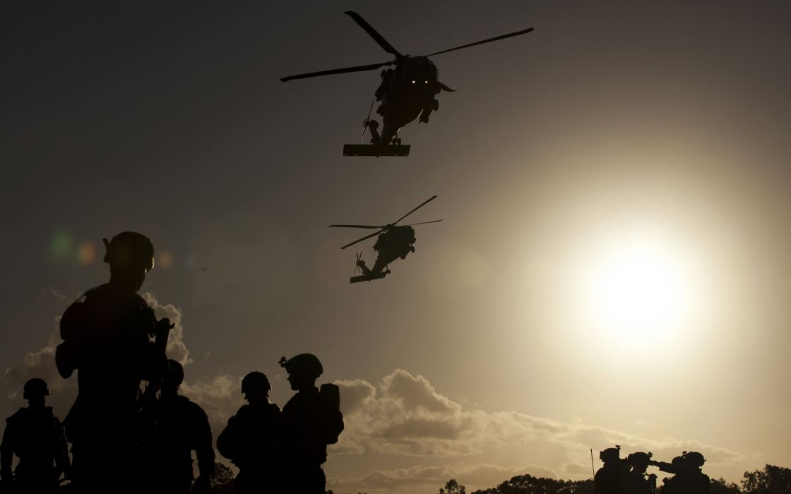 Soldiers Helicopters Sunlight Silhouette Military Wallpaper