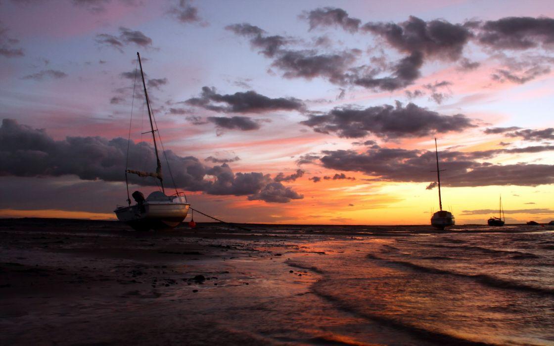 sunset  sea  ships  landscape   f wallpaper