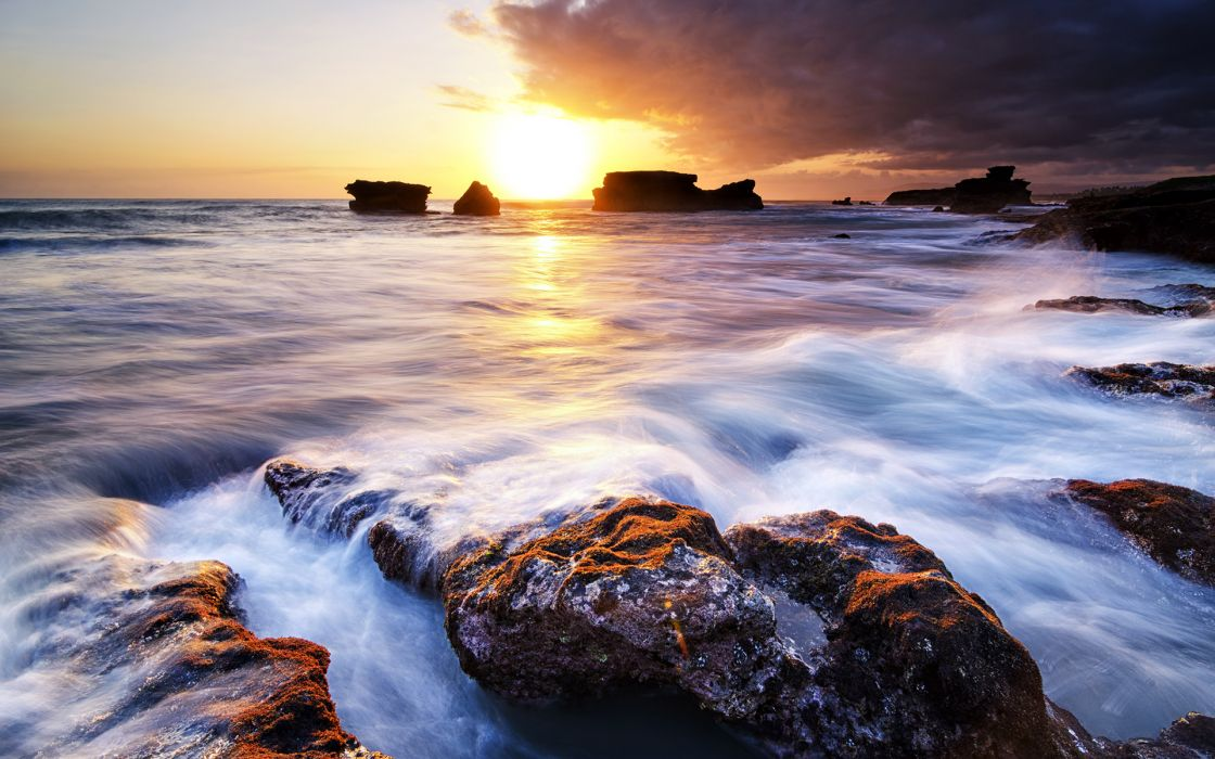 Sunset Ocean Rocks Stones Sunlight wallpaper