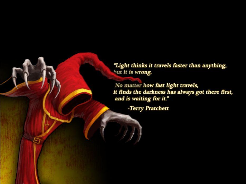 Terry Pratchett Black Light Darkness Creepy fantasy league legends wallpaper