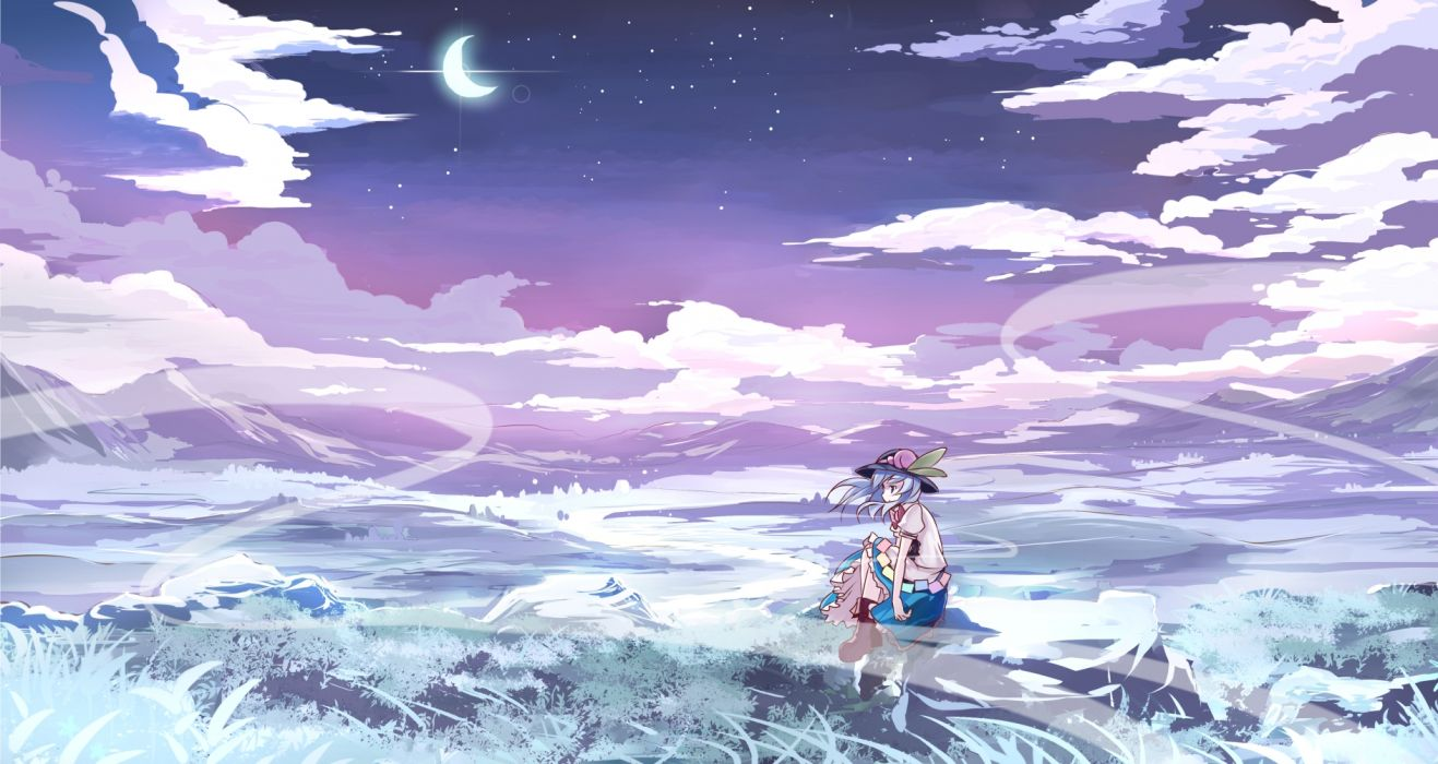 Touhou Clouds Grass Hat Hinanawi Tenshi Moon Risutaru Sky Stars Wallpaper