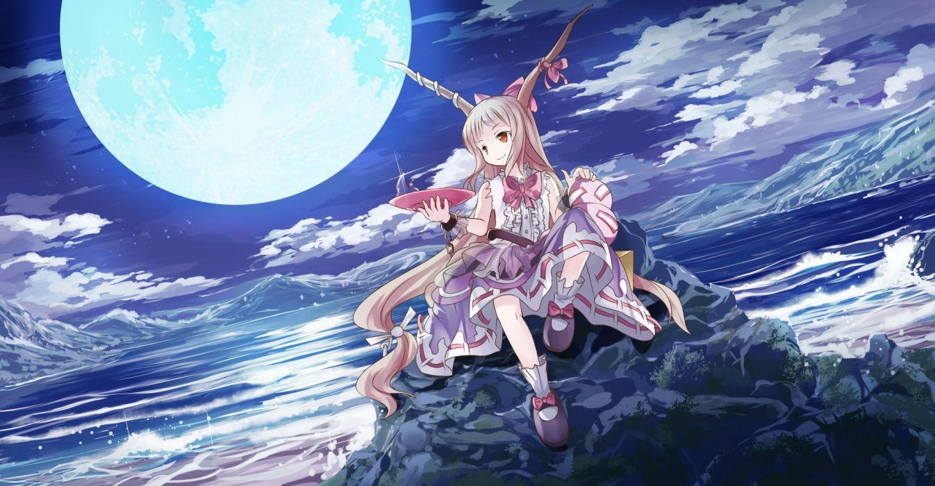 touhou clouds horns ibuki suika moon night risutaru sake sky stars touhou water wallpaper