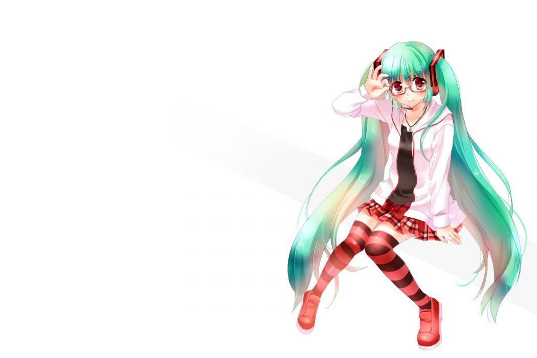 vocaloid blush glasses green hair hatsune miku long hair muraten red eyes thighhighs twintails vocaloid wallpaper