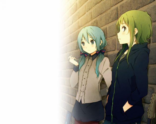 vocaloid girls green eyes green hair guitar gumi hatsune miku instrument ousaka nozomi short hair vocaloid wallpaper