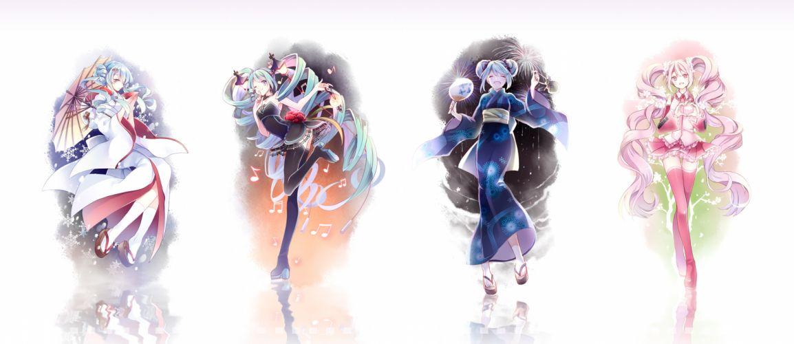 vocaloid japanese clothes kimono sakura miku thighhighs umbrella vocaloid yukata yuki miku wallpaper