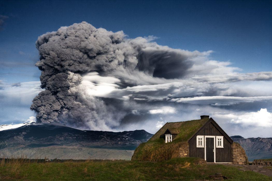 volcano mountain landscape house building disaster sky smoke wallpaper