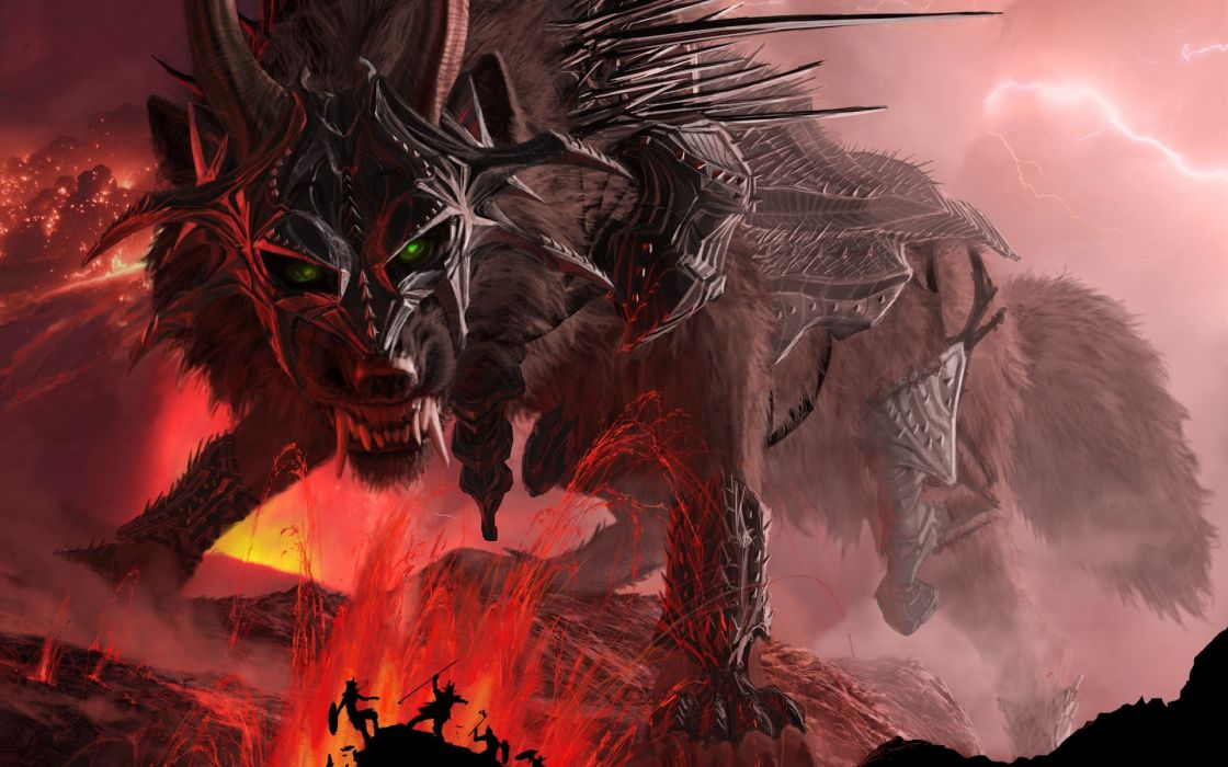 wolf  jaws  teeth  horns  armor  mountains  lava  lightning wallpaper