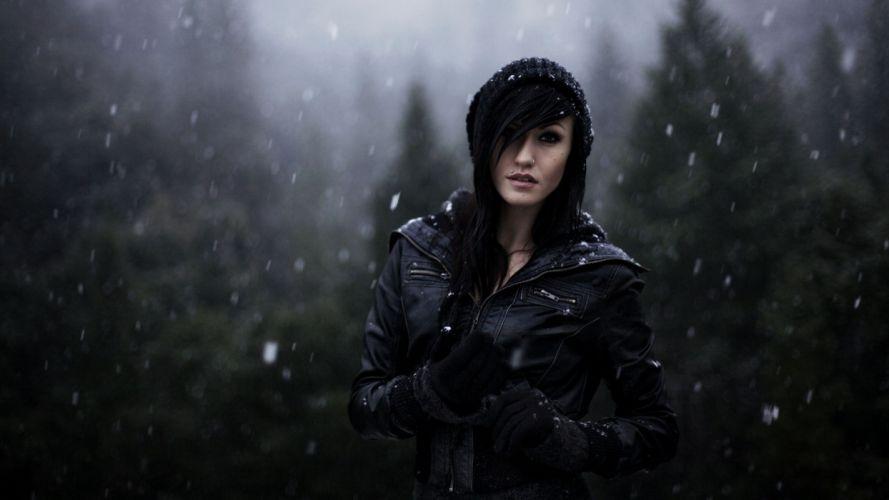 women snow gloves models leather jacket hats pierced nose 1920x1080 wallpaper Hot Girls Babes wallpaper