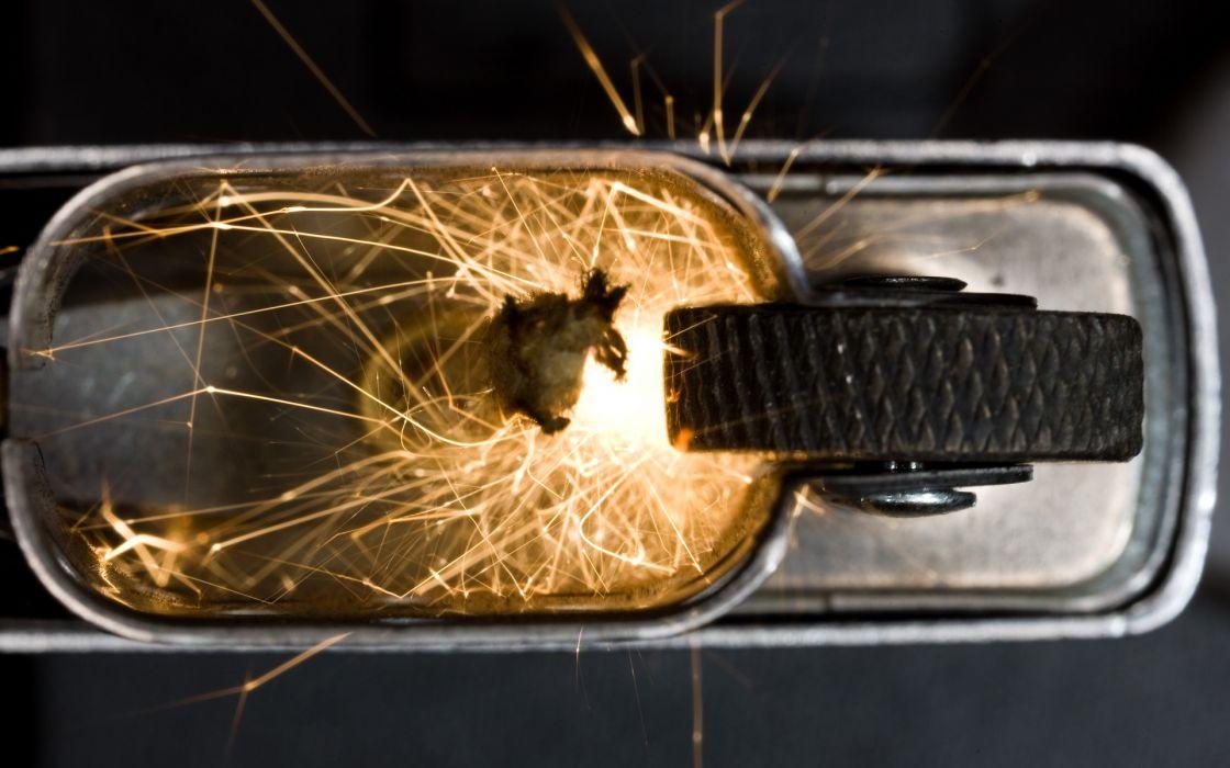 Zippo lighter sparks fire bokeh wallpaper