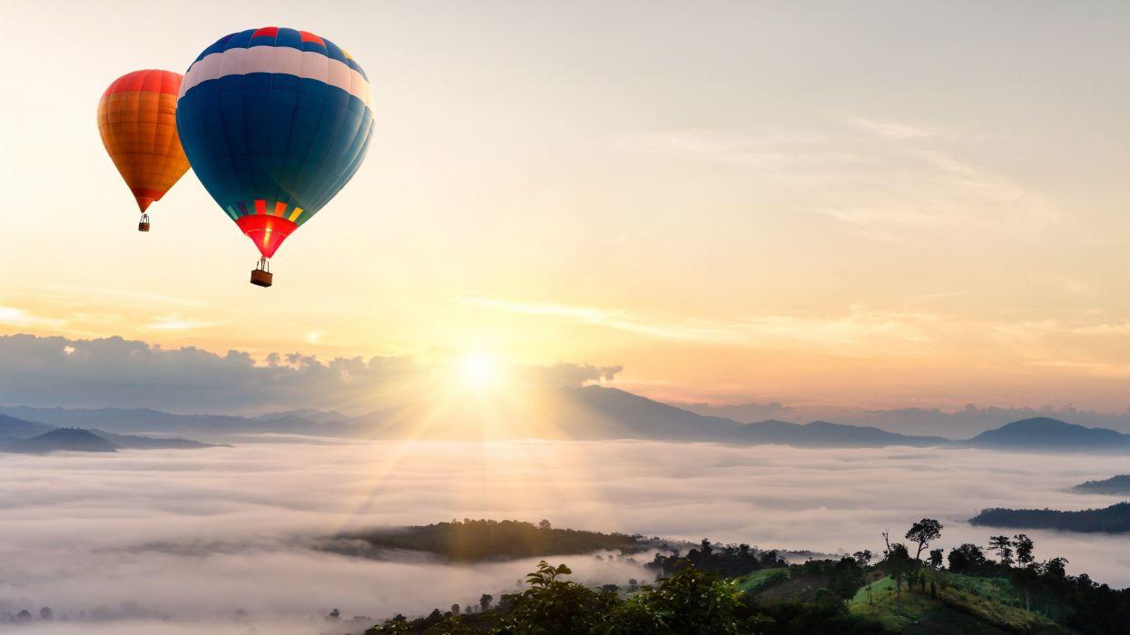 balloon balloons sunset wallpaper