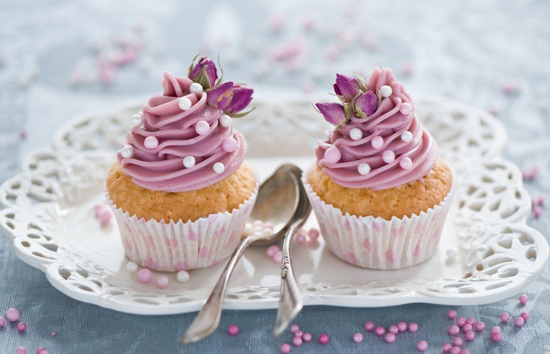 cupcakes cream spoon dessert desserts cake wallpaper