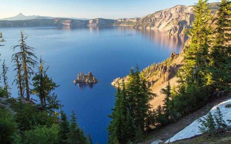 Crater Lake Oregon island trees lake reflection wallpaper