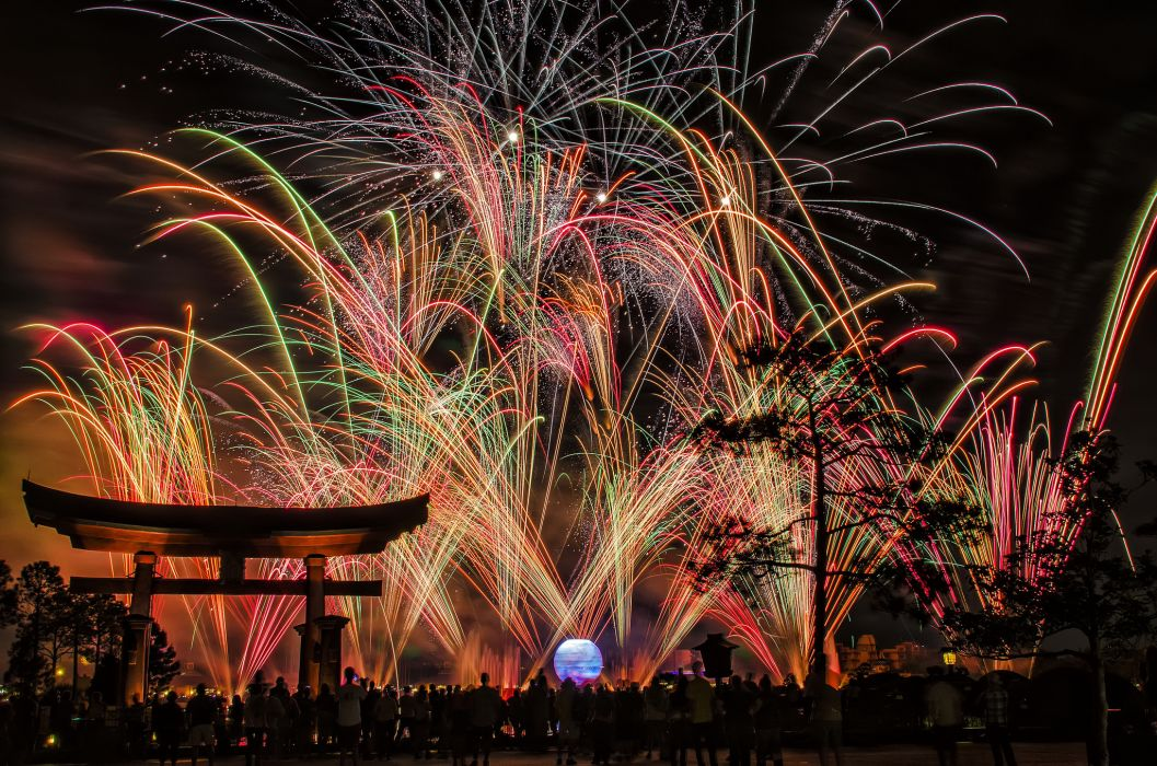 fireworks nigth japan city bokeh wallpaper