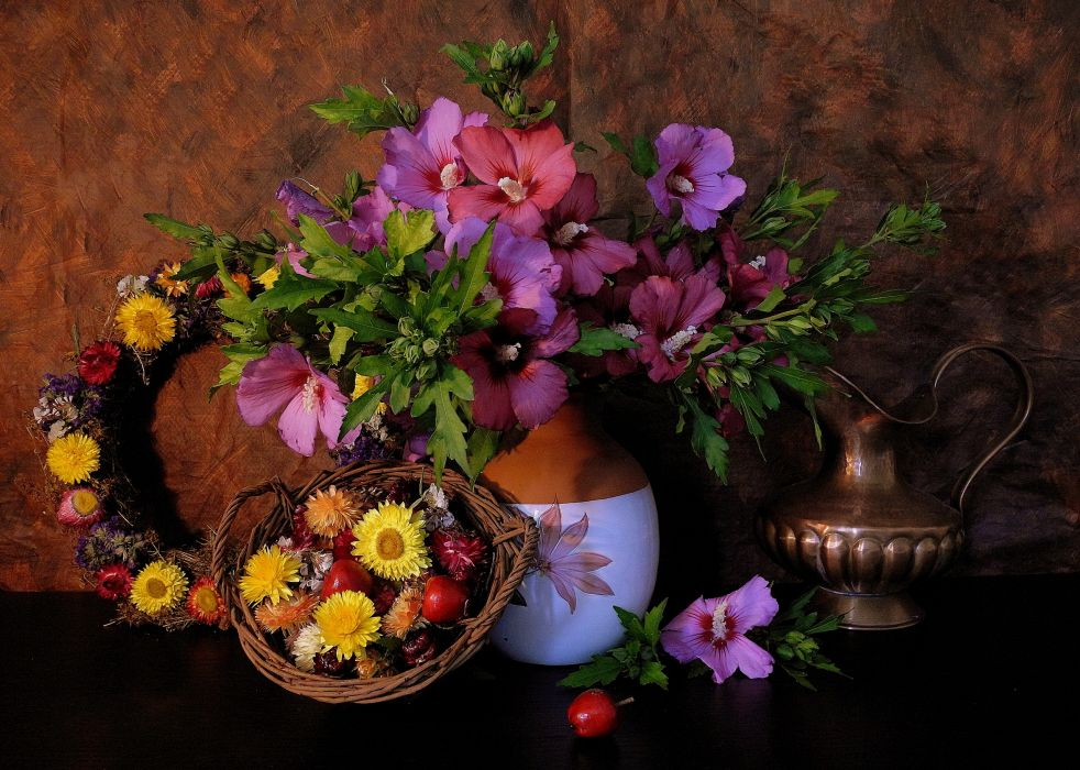 flower mallow Ranetki apples wreath vase pitcher wallpaper