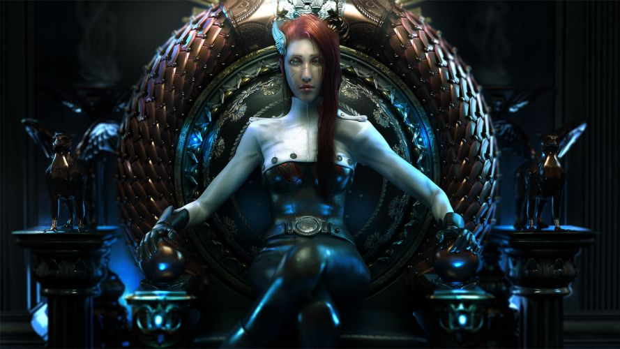 girl throne fantasy queen sci-fi wallpaper
