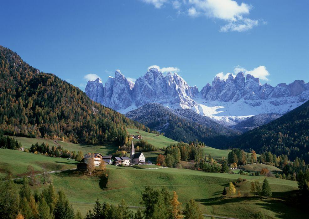 Italy mountains peaks snow trees houses autumn wallpaper