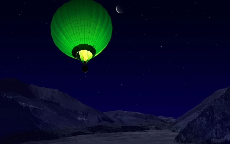 night mountains balloon sky stars wallpaper