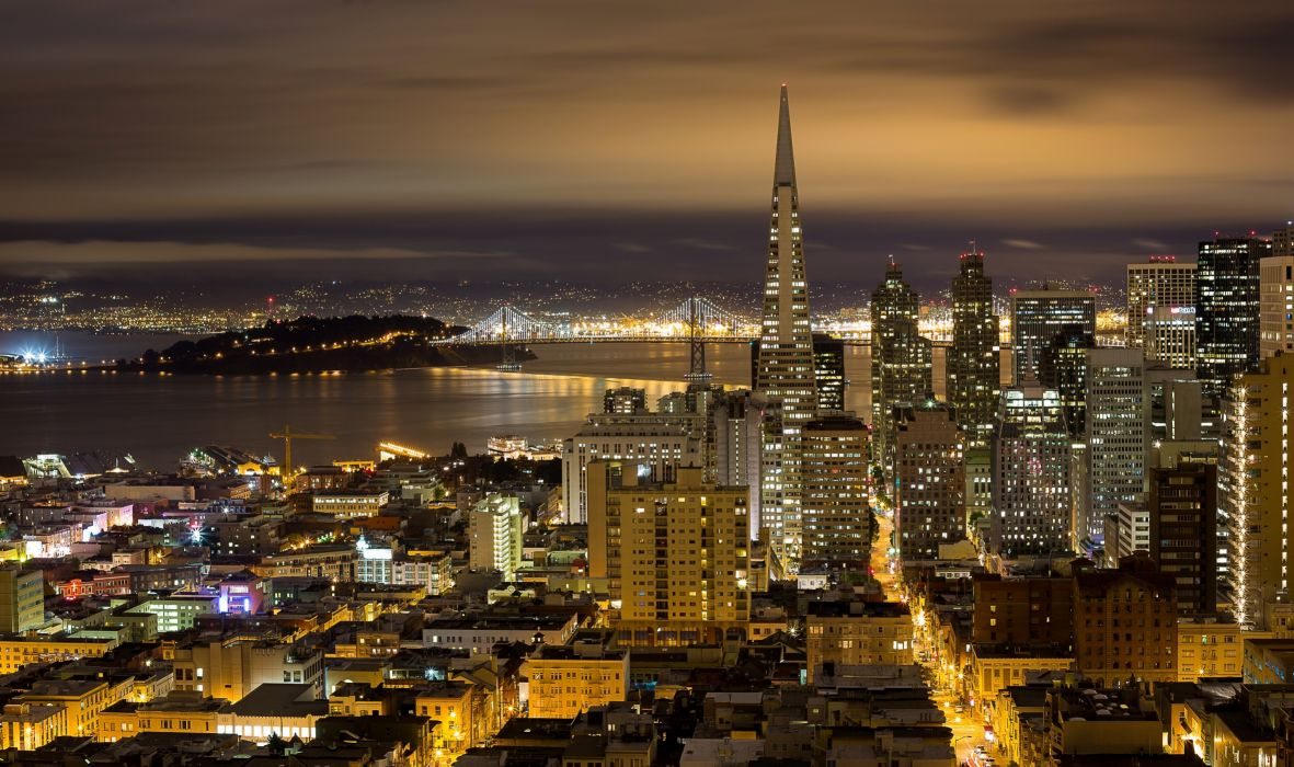 San Francisco USA night lights streets skyscrapers wallpaper
