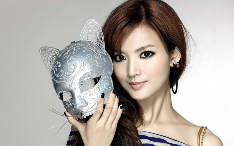 Woman Girl Babes Beauty Face Asian Anna Kay chinese singer Vogue Mask wallpaper
