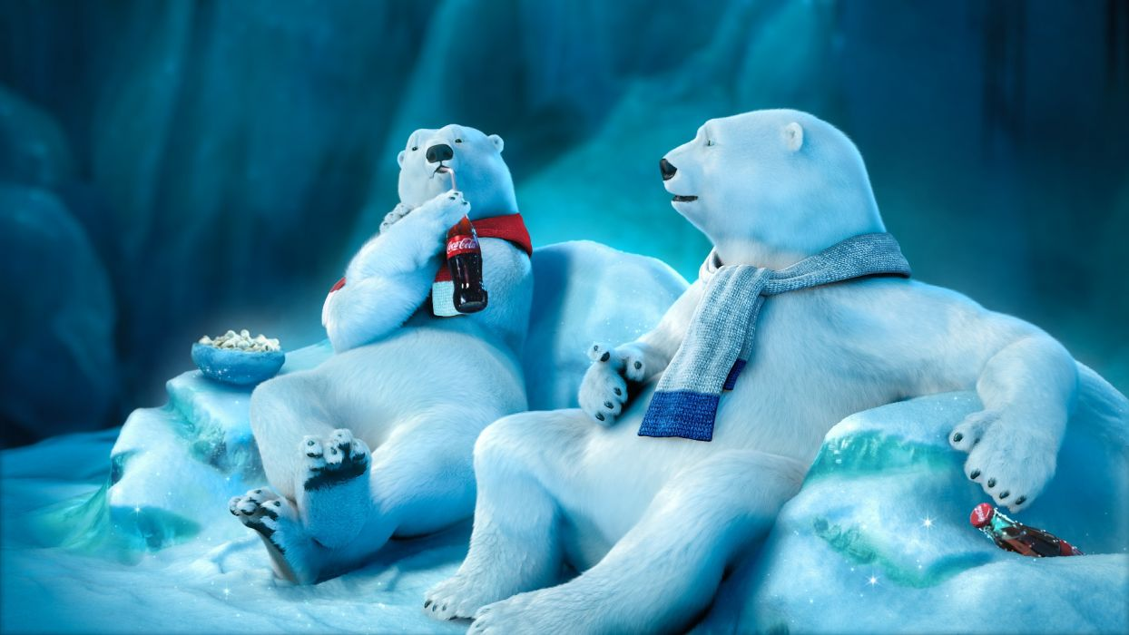 coke cola coca-cola polar bears bear snow winter drink funny mood wallpaper