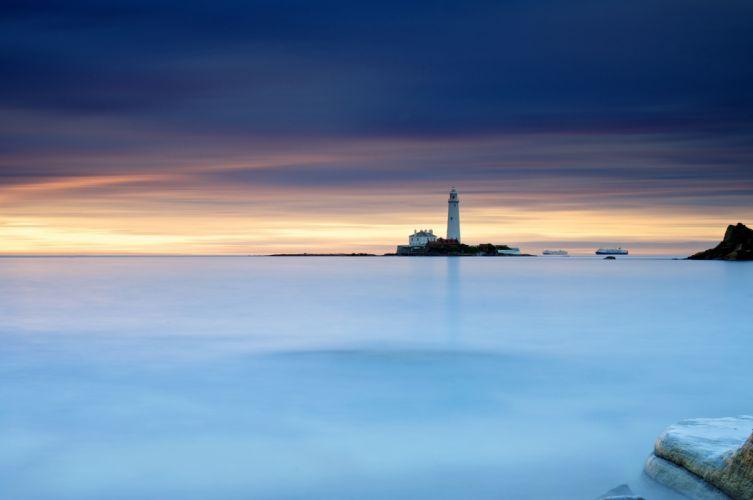 lighthouse ships shutter sky rocks wallpaper
