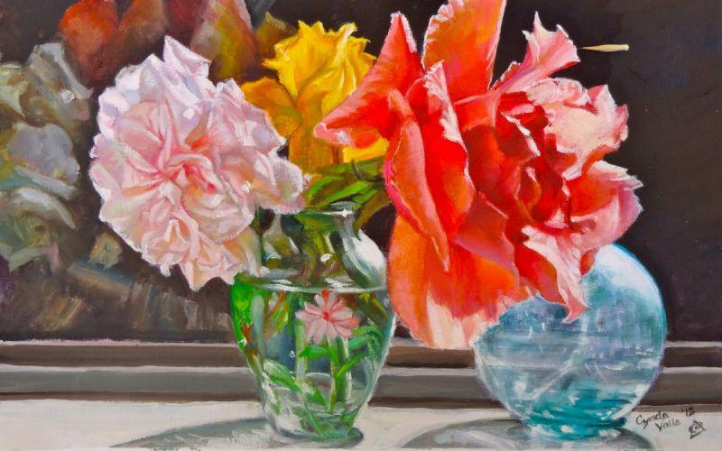 art flowers vase roses window sun flower wallpaper