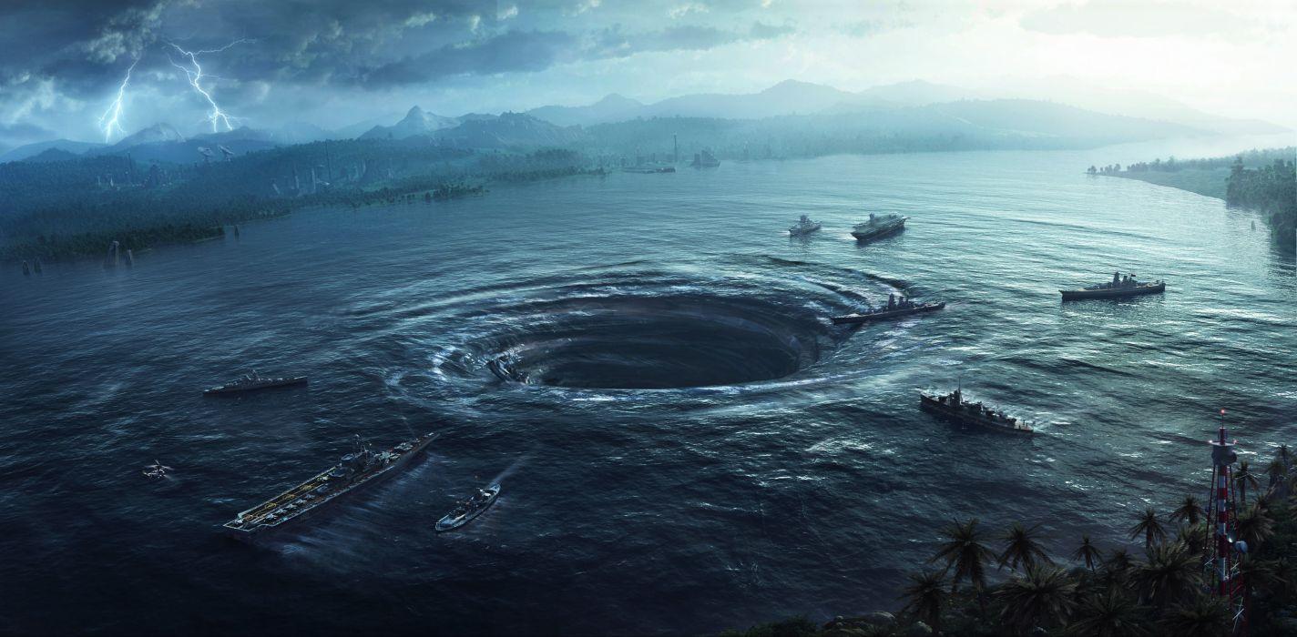 Art  lake  sea  funnel  ships  lightning sci-fi apocalyptic navy ships military destruction dark horror pacific rim wallpaper