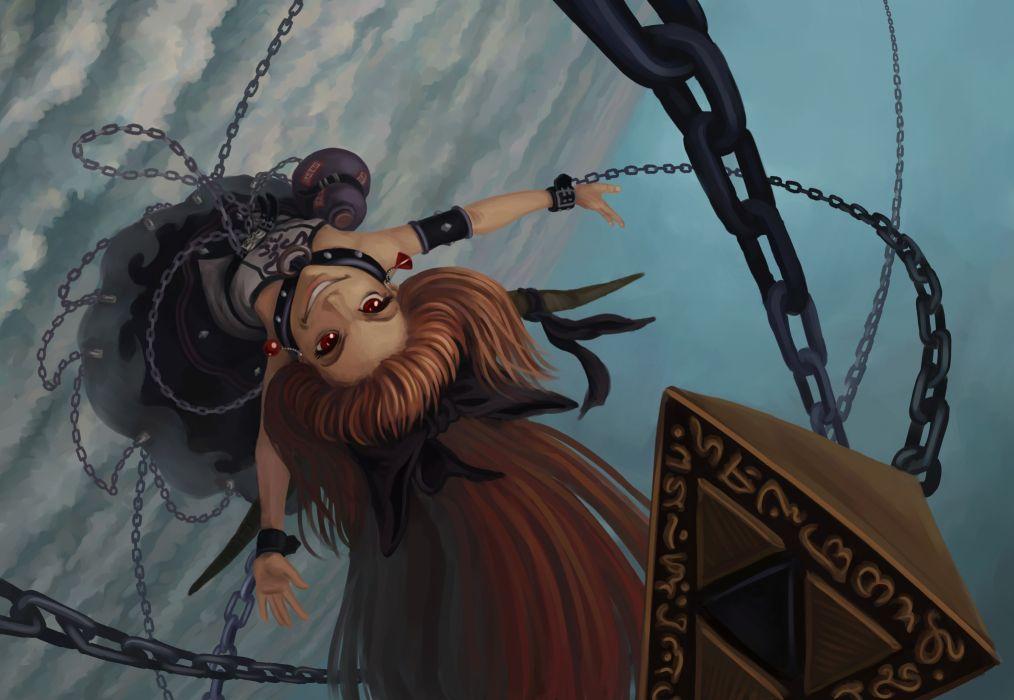 Art Touhou Suika Ibuki Girl Chain Sky Clouds Weapons Grin