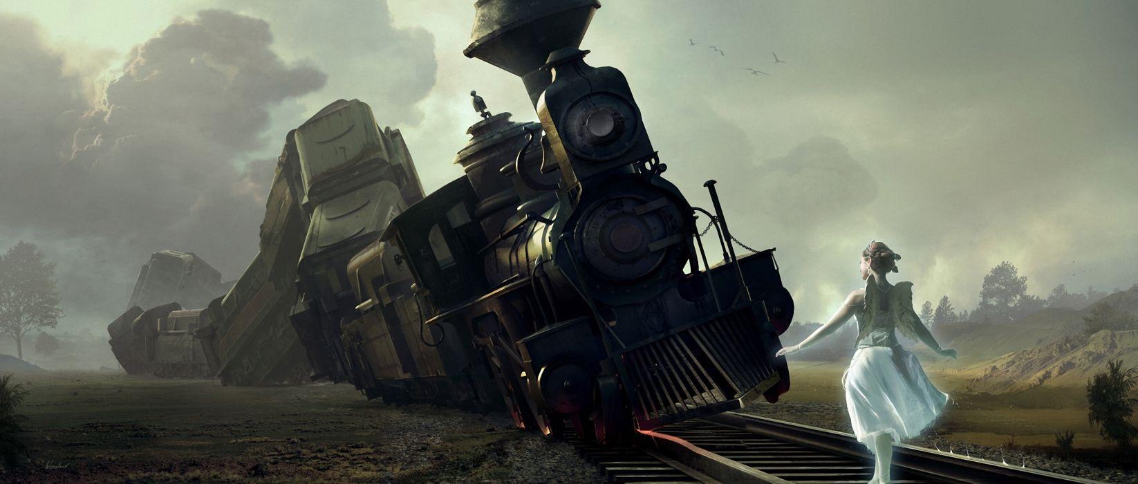 Art  train  railroad  girl  wings  crash fantasy fairy angel locomotive wallpaper