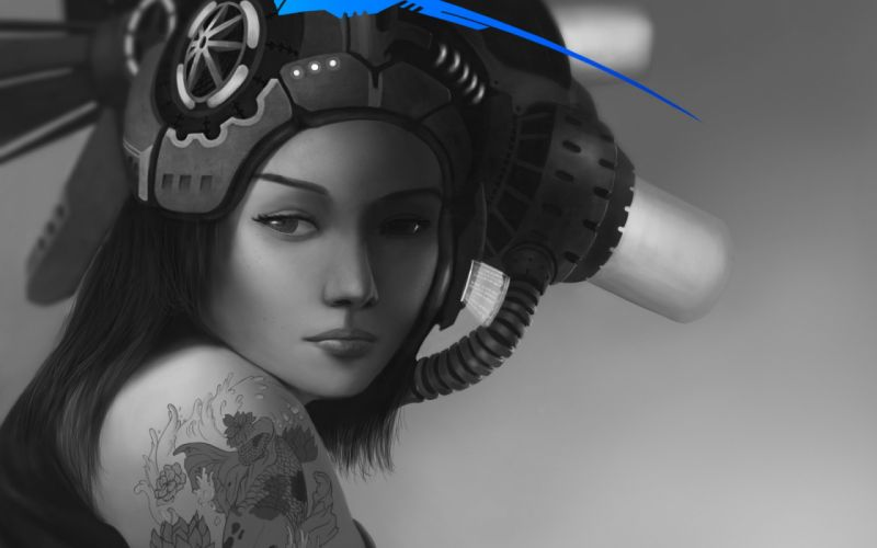 Art girl hat monochrome black and white blue tattoo tattoo fish fish shoulder sci-fi cyborg cyborgs robot wallpaper